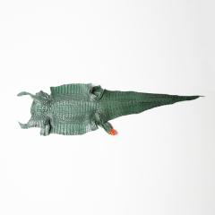 """背紋亮彩剖腹鱷魚皮 綠 10""""(+-0.5"""")"""