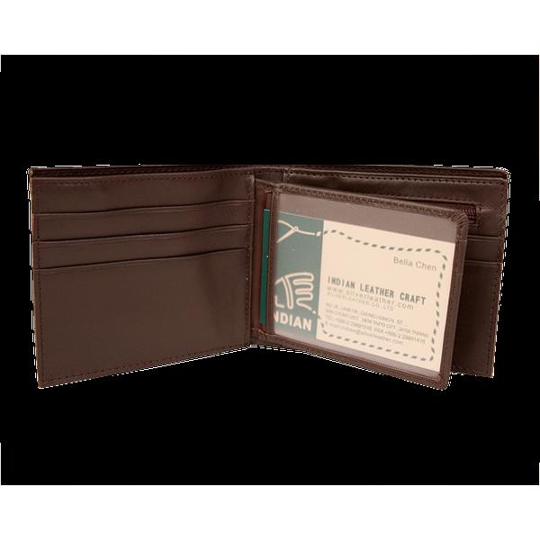 拉鏈證件短夾 咖 21.5x9cm