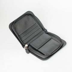 拉鏈零錢短夾包 黑 20.5x13cm