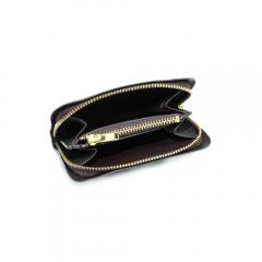 長方金屬拉鍊小錢包內裡 焦茶 11x7.5cm