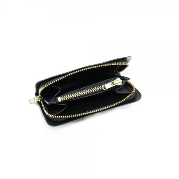 長方金屬拉鍊小錢包內裡 黑 11x7.5cm