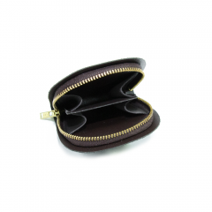 馬蹄型拉鍊小錢包內裡 焦茶 6x8cm