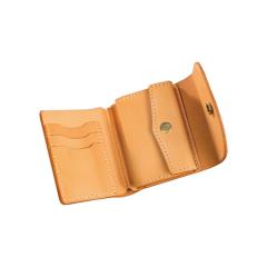 印地安手縫雙釦短夾 本色 11x10cm