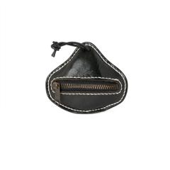 極簡風手縫西洋梨零錢包 黑 10x9cm