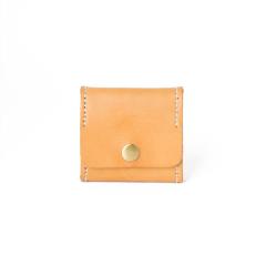 極簡風手縫方型零錢包 棕色 6.5x6.5cm