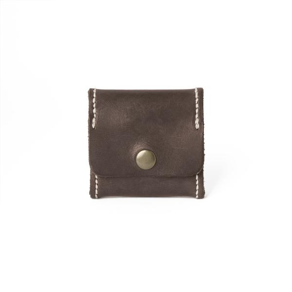 極簡風手縫方型零錢包 咖啡 6.5x6.5cm