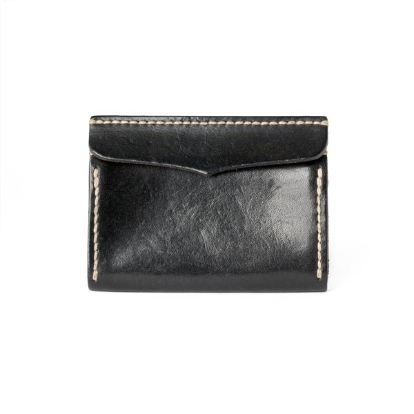 極簡風手縫雙層名片夾 黑 11.2x7.9cm
