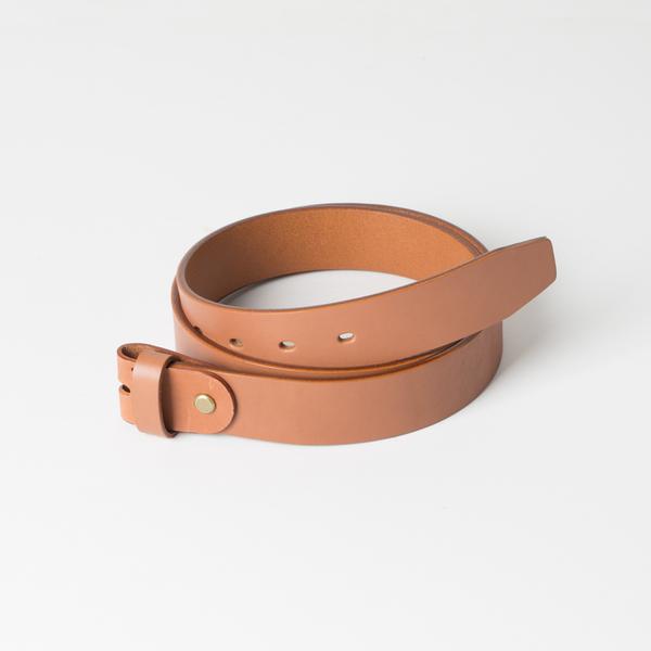 歐革皮帶組 淺茶 3.5x120cm 含帶耳