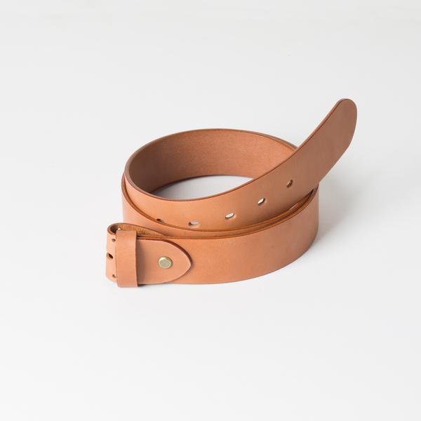 歐革皮帶組 淺茶 4.0x110cm 含帶耳