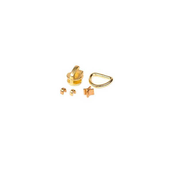 3號開口拉鍊頭 黃銅色 含皮拉片上下止