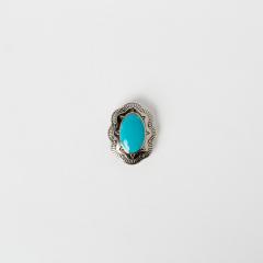 裝飾鉻色釦 橢圓藍石形 銀色
