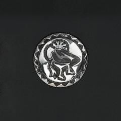 手雕霍皮族鉻色飾釦 純銀925 30mm