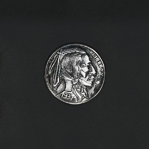 手雕酋長頭鉻色飾釦 純銀925 30mm