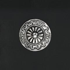 手雕菊印 鉻色飾釦 純銀925 30mm