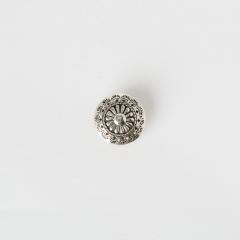 手雕菊印 鉻色飾釦 純銀925 21mm