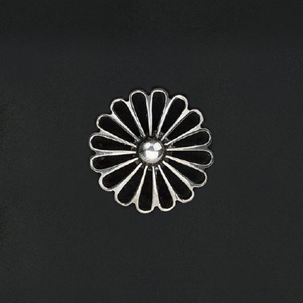 手雕透菊 鉻色飾釦 純銀925 30mm