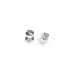 銅製平面螺絲釦 鎳白色 10X6mm 2組