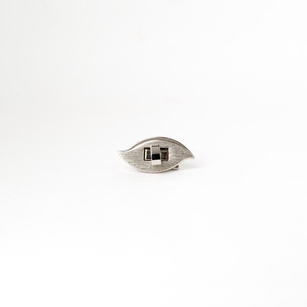日製葉型轉釦 銀色 40x20mm