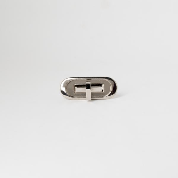 日製橢圓轉釦 銀色 52x22mm