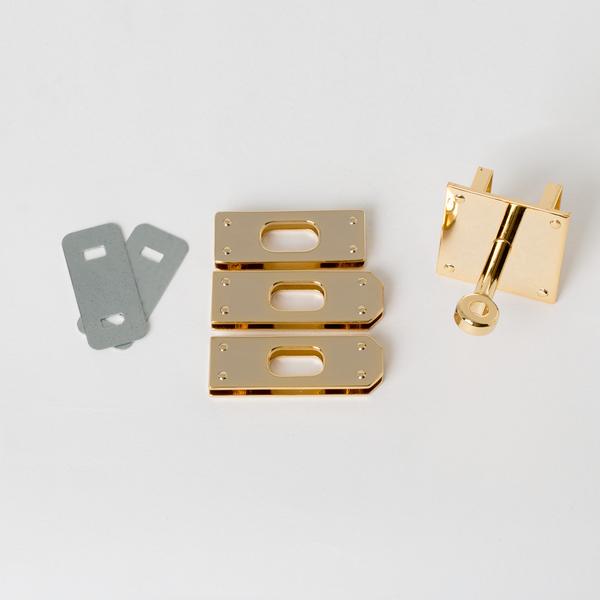 日製KL皮包鎖釦四件組 金色 45mmX32mm1入