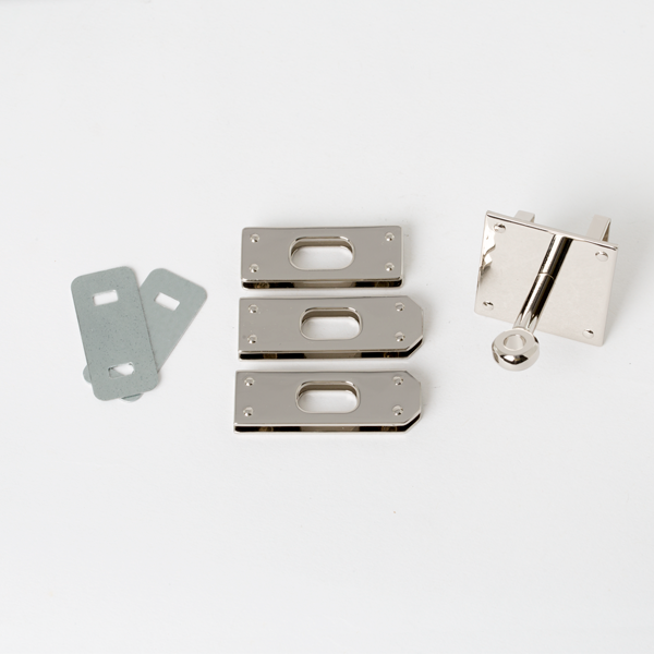 日製KL皮包鎖釦四件組 鎳色 45mmX32mm1入