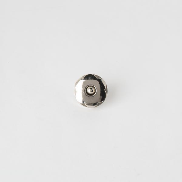 銅製花磁釦 銀色 22x18mm