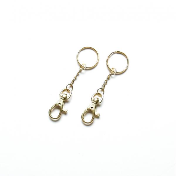 鑰匙環附鉤 黃銅色 2組